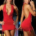 Sexy Women Backless Deep V Dress Bodycon Clubwear Party Cocktail Mini Dress