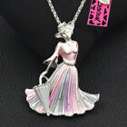 Betsey Johnson Enamel Crystal Elegant Lady Umbrella Pendant Necklace/Brooch Pin