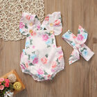 Newborn Infant Baby Kid Girls Floral Clothes Romper Jumpsuit Home Outfits Summer