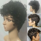 Women Ladies Full Wigs Short Afro Curly Wave Hair Black Pixie Cut Wig Brazilian