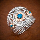 Pretty Wedding Rings Women Fashion 925 Silver Blue Sapphire Jewelry Size 5-11 image