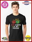 Funny Christmas T Shirt Stop Staring At My Package Slim Fit T Shirt 35184187