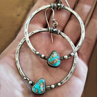 Elegant Turquoise Hoop Earrings for Women 925 Silver Jewelry Gift Free Shipping