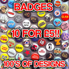 Mixed Button Badges. Funky Cool Design Cheap Clearance Stock Pin Badge
