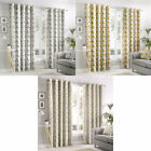 Fusion Aura Floral 100% Cotton Eyelet Lined Curtains