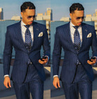 Blue Stripe Men Suits Business Tuxedos Notch Lapel OfficeWedding Groom Coat 42R