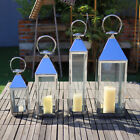 Steel Glass Tea Light Candle Holder Hanging Windproof Wedding Table Decor Garden