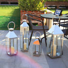 Windproof Lamp Glass Tealight Candle Holder Stainless Steel Lantern Home Garden