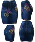 Womens Denim Look Printed Seamless Fitted Skirt