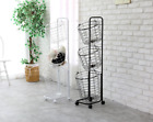 3 Basket Rolling Laundry Wheel Steel Hamper - Black White - Laundry Hamper