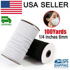 125 Yards Braided Elastic Band Cord Knit 1/4 inches width (6mm) USA Stock#