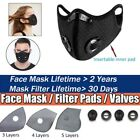 Reusable Face Mask Mouth Cover W/breathing Valves & Activated Carbon Filter Pads