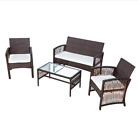 4 Piece Rattan Garden Furniture Set With Cushions - Outdoor Coffee Table