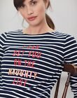 Joules Womens Harbour Print Long Sleeve Jersey Top  Naughty List