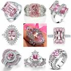 Gorgeous 925 Silver Jewelry Oval Cut Pink Sapphire Women Wedding Ring Size 5-12