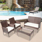 4 Pieces Of Rattan Furniture Set For Outdoor Patio Garden Lawn Sofa Glass Table