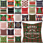 Christmas Throw Pillow Covers,Geometric Red Green Plaid Pillowcase 16/18/20/24in