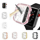 For Apple Watch 5 4 3 3D Diamond Bumper Protector Case Full Tempered Glass Cover