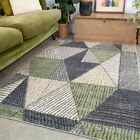 Emerald Green & Grey Geometric Rug Small Large Rugs For Living Room Hall Runners