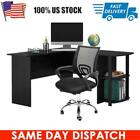 L-Shaped Computer Desk Swivel Chair Corner Workstation Table Office w/ Shelves