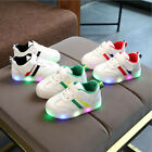 1-6T Toddler Kids Children Baby Striped Shoes LED Light Up Luminous Sneakers DZ