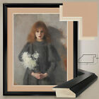 "32Wx38H"": GIRL CHRYSANTHEMUMS by OLGA BOZNANSKA - DOUBLE MATTE, GLASS and FRAME"