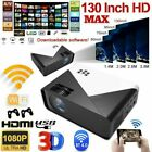LED Smart Home Theater Projector 4K Wifi Android IOS 1080p HD 3D Movie HDMI USB