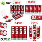 Lot EBL 3.7V 18500 16340 14500 10440 26650 Rechargeable Battery + Box For Torch