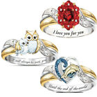 Women Crystal Dolphin Heart Owl Ring 925 Sterling Silver Mom Rings Gift Jewelrry