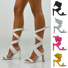 Womens Lace Up High Heel Sandals Ladies Square Toe Party Evening Shoes Size 3-8