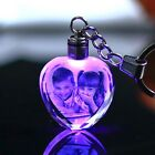 Laser Engraved Photo Keychain Personalized Picture LED Lighting Glass Pendant