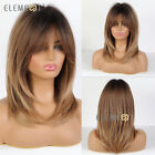 Long Natural Layered Wave Dark Brown Ombre Hair wigs Synthetic Party Daily Use