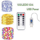 USB Operated LED String Remote control 10M 100LEDs Fairy Light For Home Decor SS