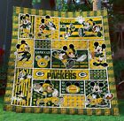 Limited Edition Gbpk DIsney Mickey Green Bay Packers Quilt Blanket Premium