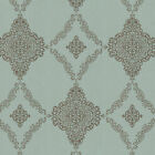 'Fine Décor - Turquoise And Copper Gold Glitter Shimmer Floral Paisley Wallpaper