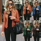 'Womens Casual Pu Leather Zipper Biker Jacket Ladies Blazer Coat Tops Outwear