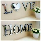 2pcs 4 Letters Love Home Furniture Mirror Tiles Wall Sticker Self-adhesive Decor