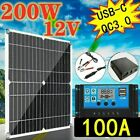 200W Solar Panel Kit 10A-100A 12V battery Charger with Controller Caravan Boat