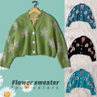 Lady Girl Sweet Daisy Loose Cardigan Knitted Sweater Preppy V Neck Coat Pullover