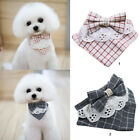 Pet Puppy Dog Triangle Plaid Bowknot Neckerchief Decorative Tie Bib Saliva Towel