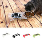 Elevated Feeder Pet Stainless Steel 2 Bowl For Dog Cat Water Food Dish Removable