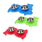 Creative Dog Double Bowl Food Water Dispenser Cat Feeder Dish Plate Plastic