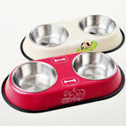 Double Pet Bowl Dog Cat Twin Dish Stainless Steel Water Food Feeder Large/Small