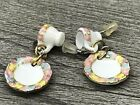 Porcelain Mini Tea Cup & Saucer Dangle Earrings