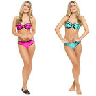 Ladies Moulded Cup Neon Bikini Swimwear Top and Bottoms - Pink or Turquoise