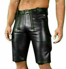 MENS REAL LEATHER BLACK CARGO-POCKET SHORTS WITH DOUBLE CROTCH ZIPPER
