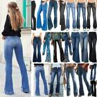 Womens Flared High Waist Skinny Jeans Long Pants Bell-bottomed Denim Trousers