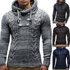 Men Cable Knitted Hooded Sweater Jumper Winter Warm Long Sleeve Pullover Tops