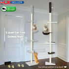 5-Tier Floor To Ceiling Cat Tree Kitty Activity Center Scratching Post 240-270cm