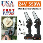 2X Mini Chainsaw,4 Inch Cordless Electric Protable Chainsaw Rechargeable Battery